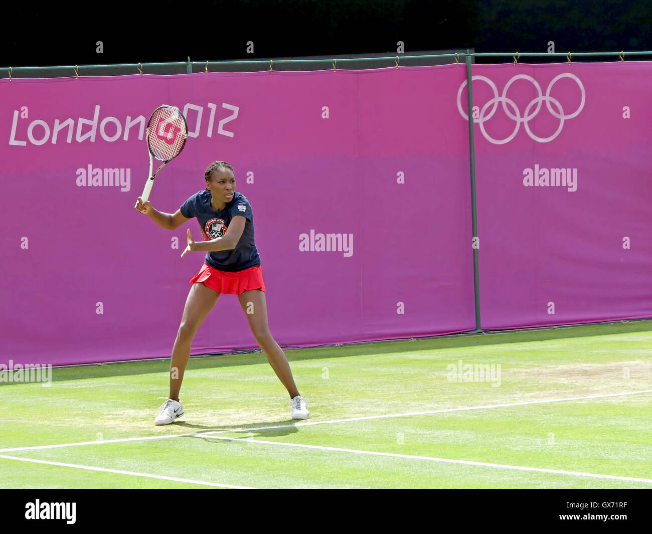 Wimbledon, England. August 2nd, 2012. Venus Williams on the practice court at the Summer Olympics in London in 2012. - Stock Image