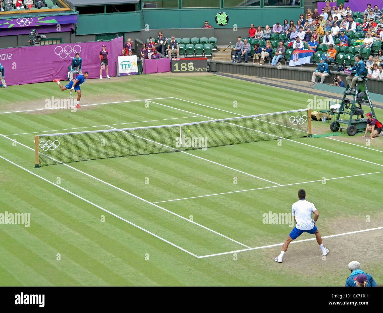 Wimbledon, England. August 2nd, 2012. Novak Djokovic and Jo-Wilfried Tsonga during their singles match at the summer - Stock Image