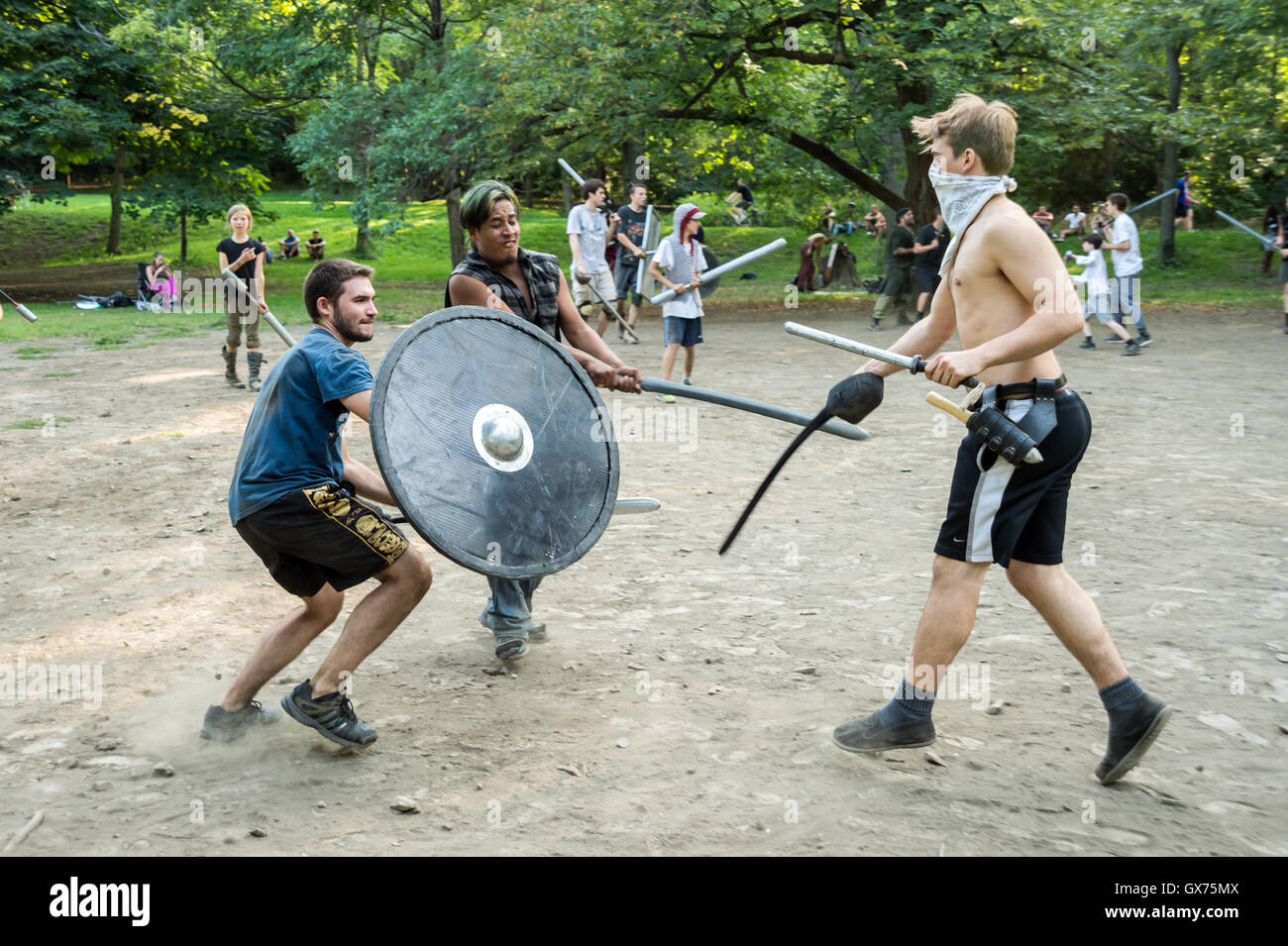 Montreal, CA - 4th September 2016: 'Guerriers de la montagne' in Montreal. Medieval battles in Mont-Royal - Stock Image
