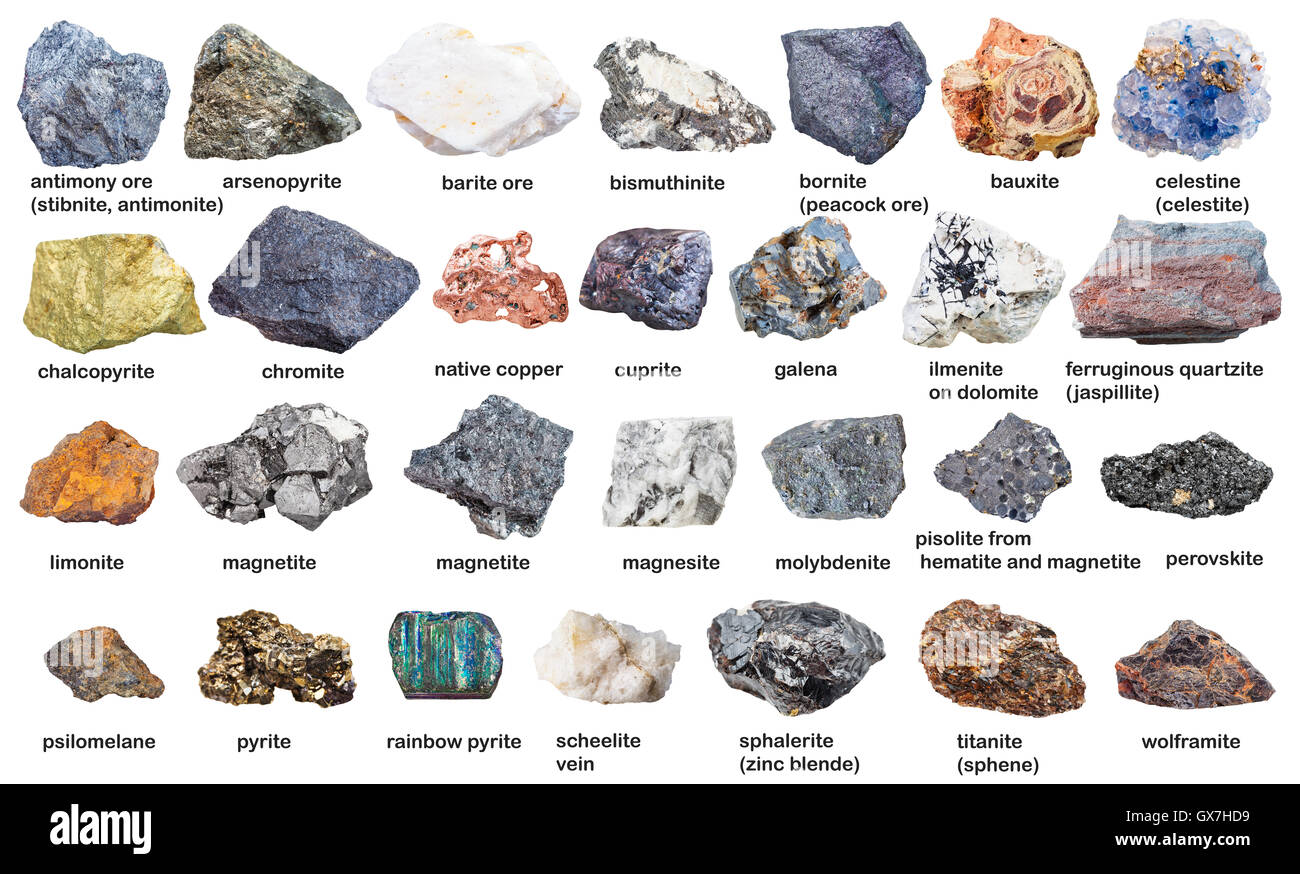 set from raw minerals and ores with names isolated on white background - Stock Image