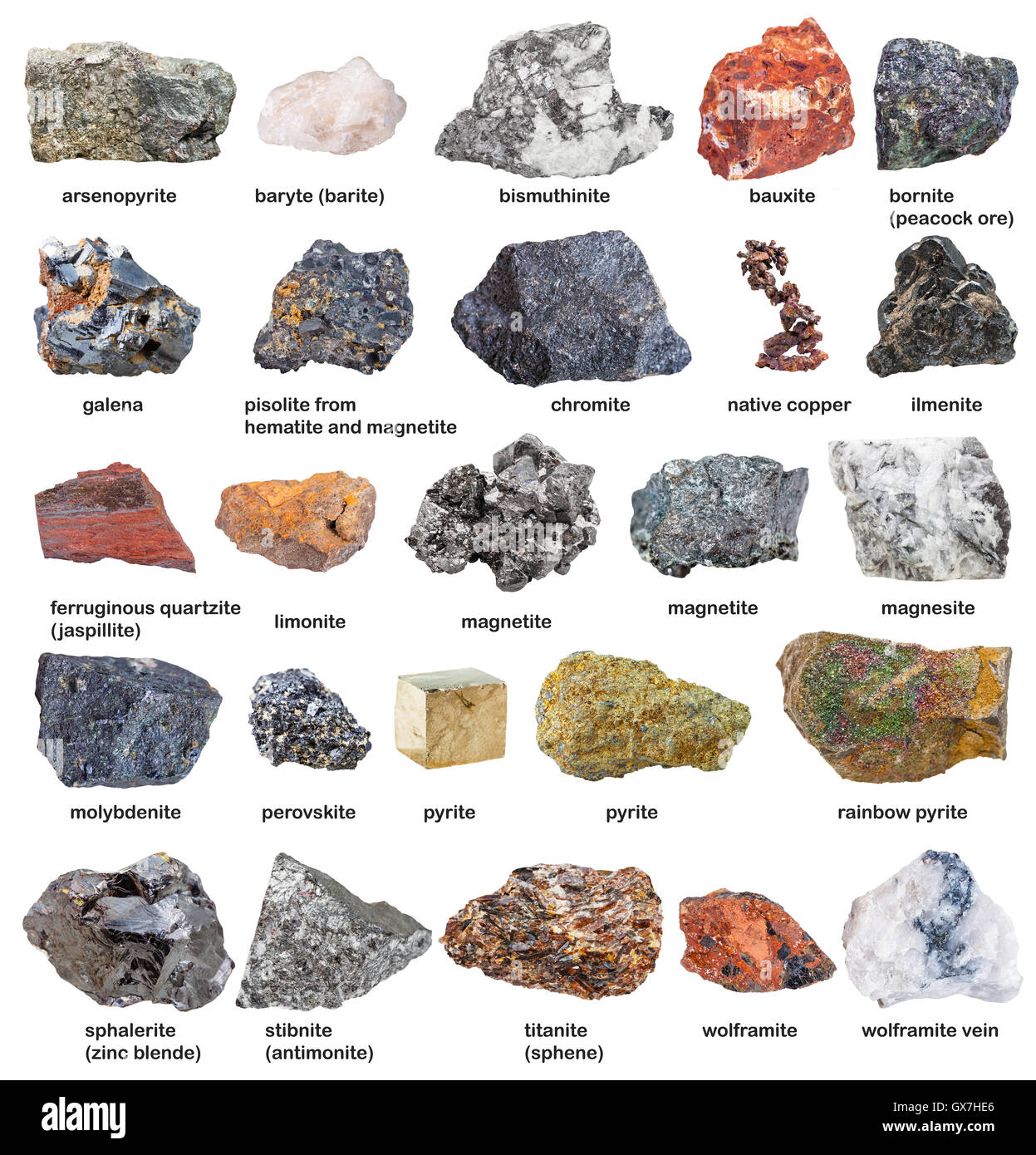 collection from raw minerals and ores with names isolated on white background - Stock Image