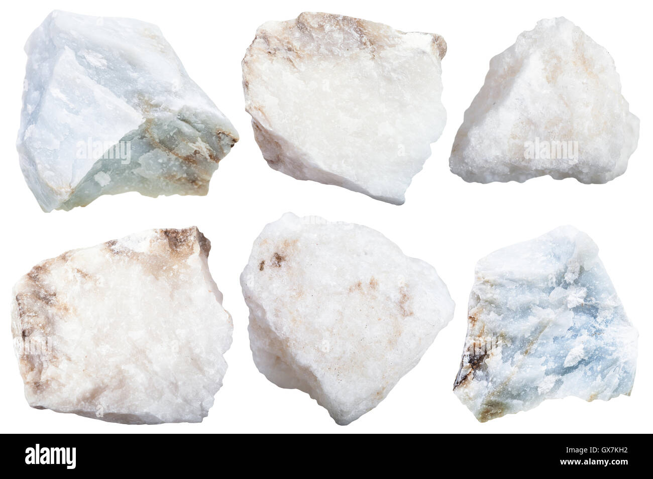 collection from specimens of anhydrite stone isolated on white background - Stock Image