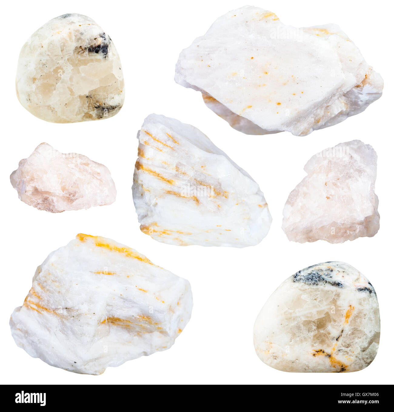 collection from specimens of barite ore isolated on white background - Stock Image