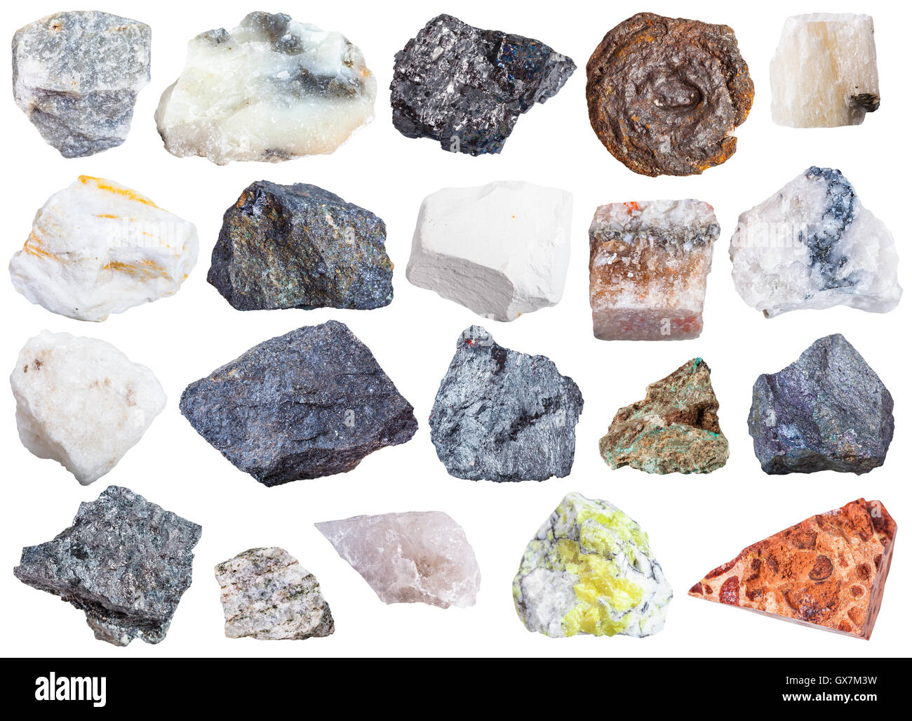 collection of natural mineral specimens - apatite, anhydrite, chalk, molybdenite, bornite, halite, chromite, wolframite, - Stock Image