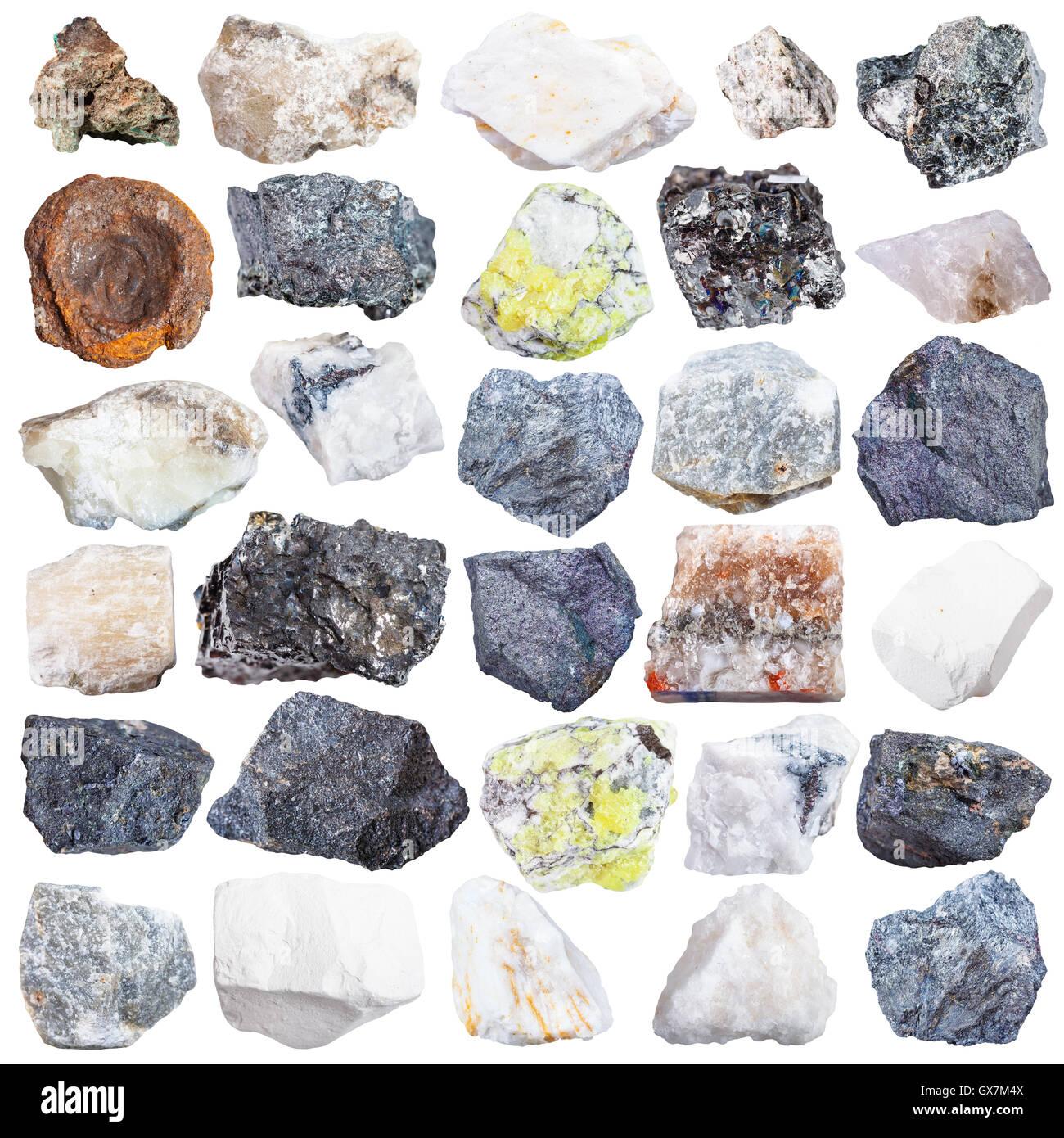 set of natural mineral specimens - apatite, gypsum, anhydrite, molybdenite, bornite, halite, chromite, wolframite, - Stock Image