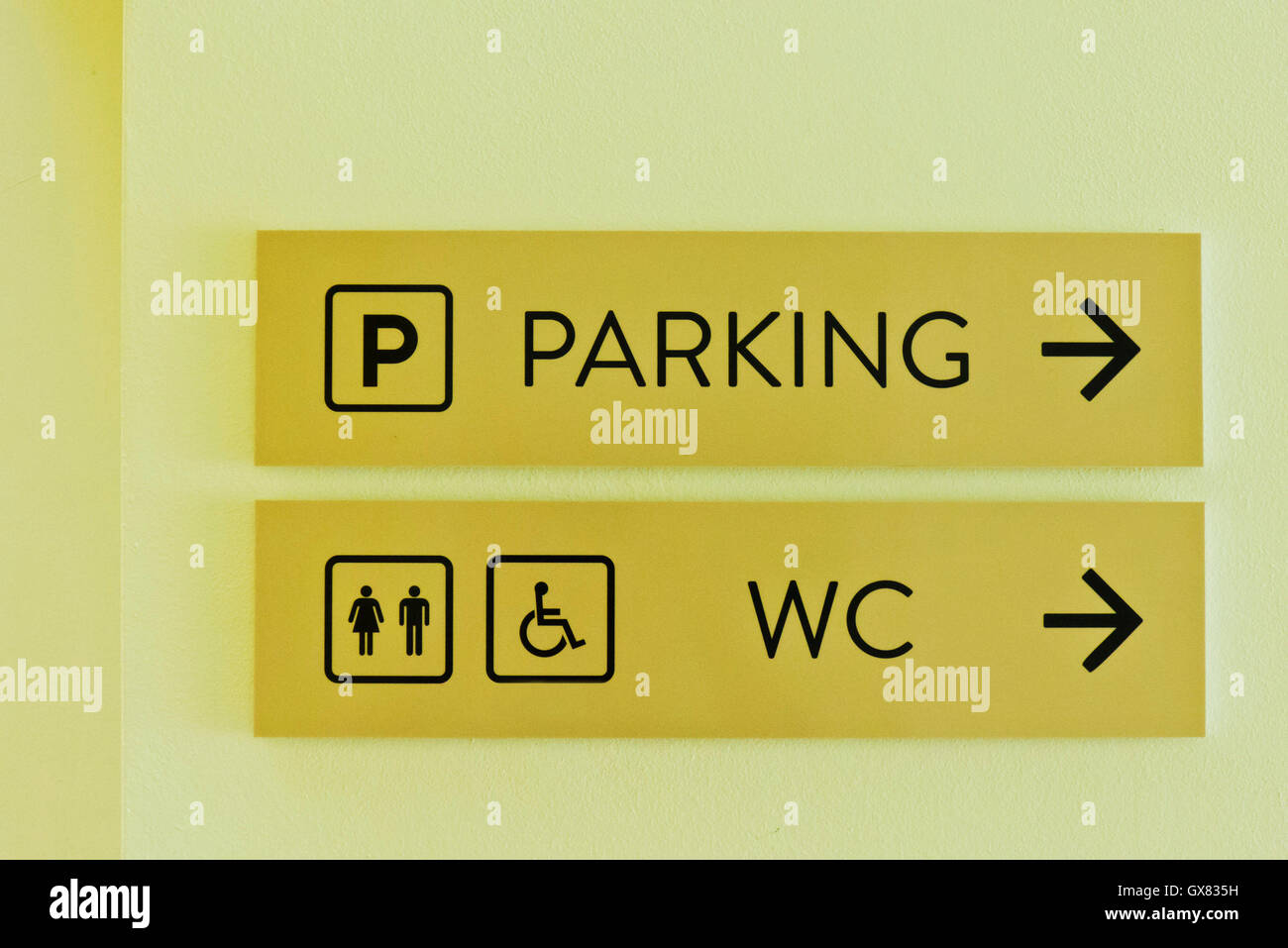 parking and WC indications - Stock Image