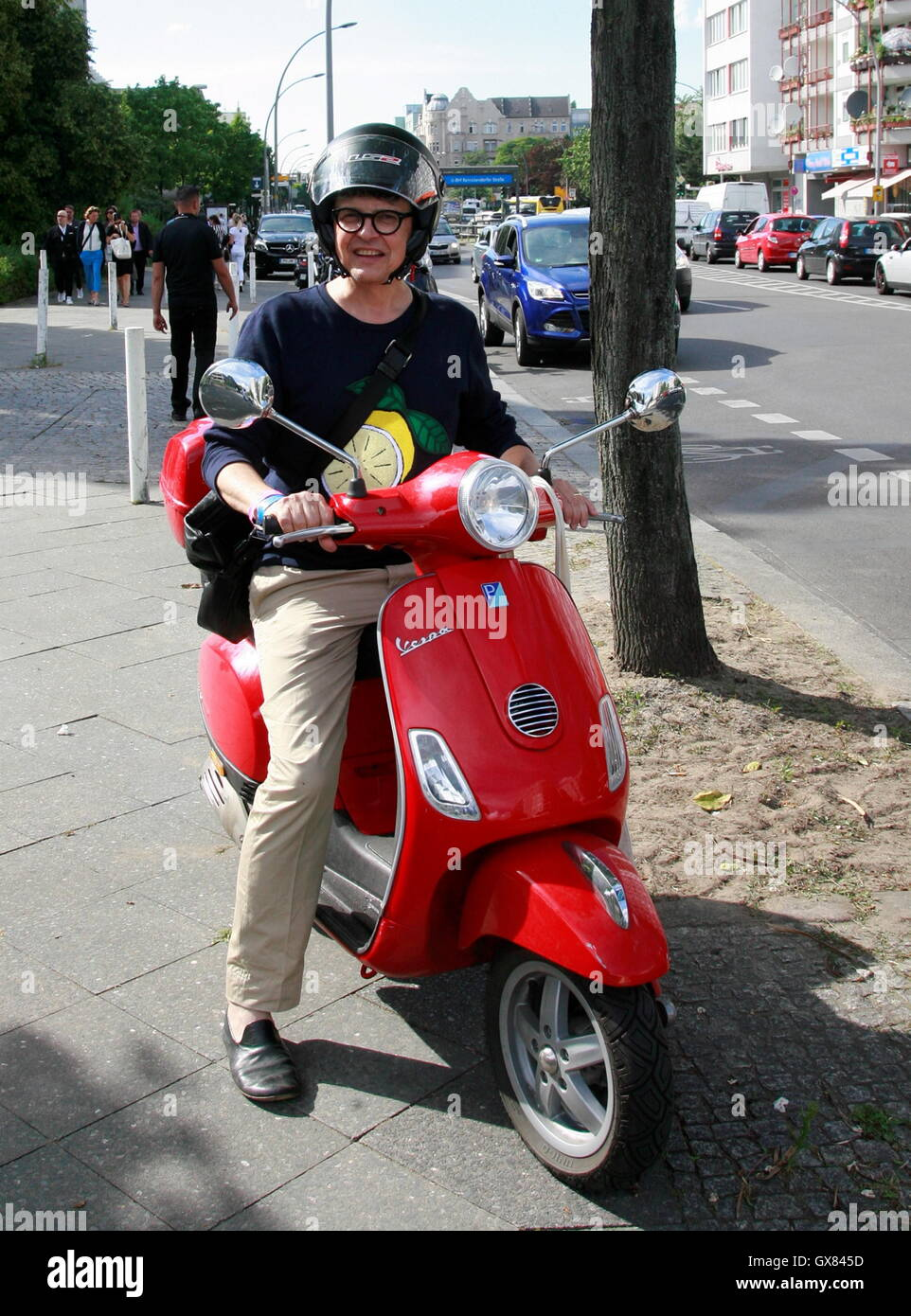 25756c0db9 Rolf Scheider riding his scooter to attend Mercedes Benz Fashion Week Berlin  Spring Summer 2017. Featuring  Rolf Scheider Where  Berlin