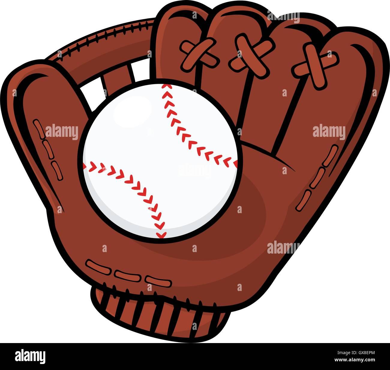 baseball glove and ball illustration isolated on white background rh alamy com baseball mitt clipart black and white Baseball Diamond Clip Art