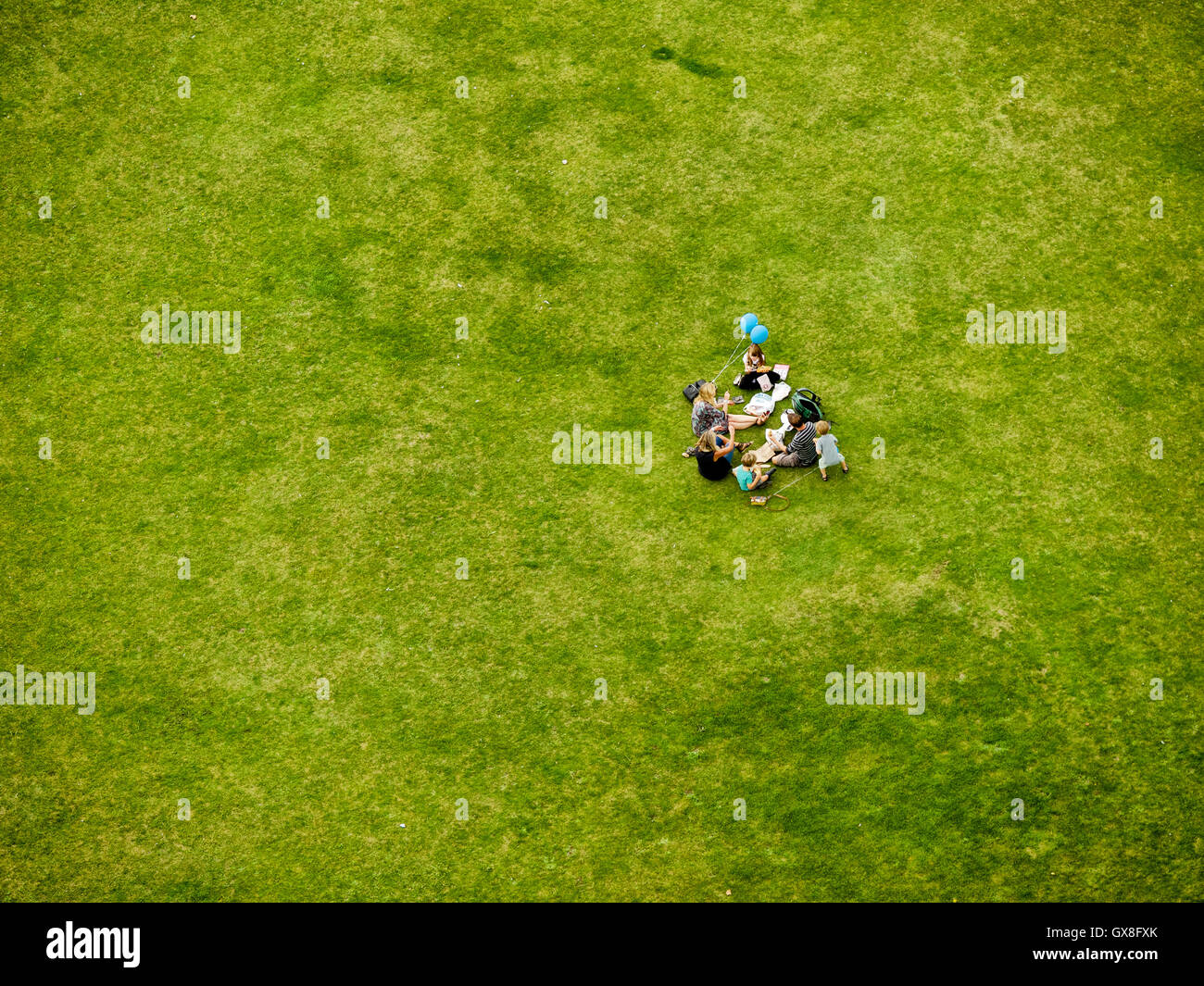 Family with young children having a picnic on a green grass field - Stock Image