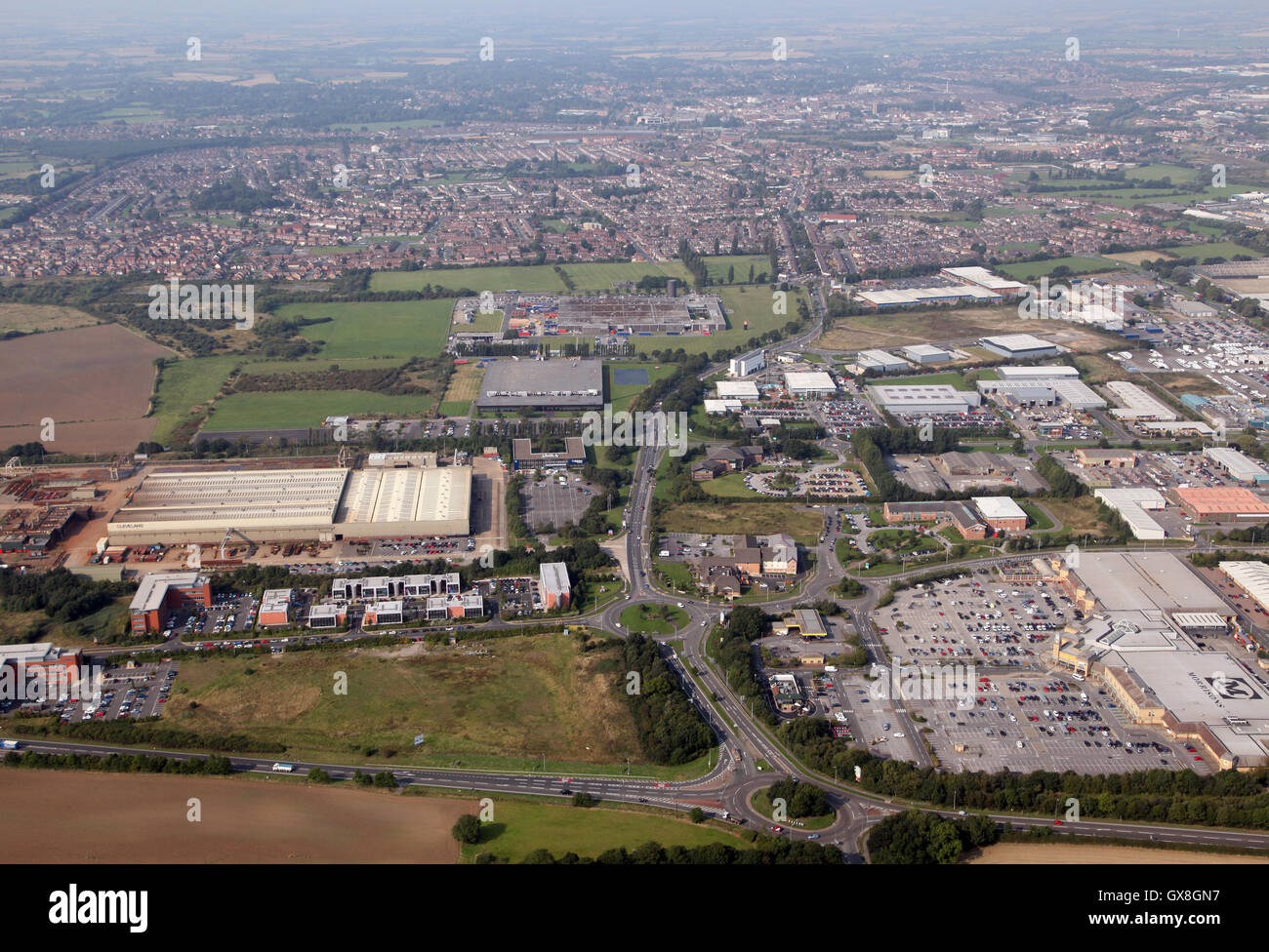aerial view of Darlington from over the A66 looking west along the A67 Yarm Road, UK Stock Photo
