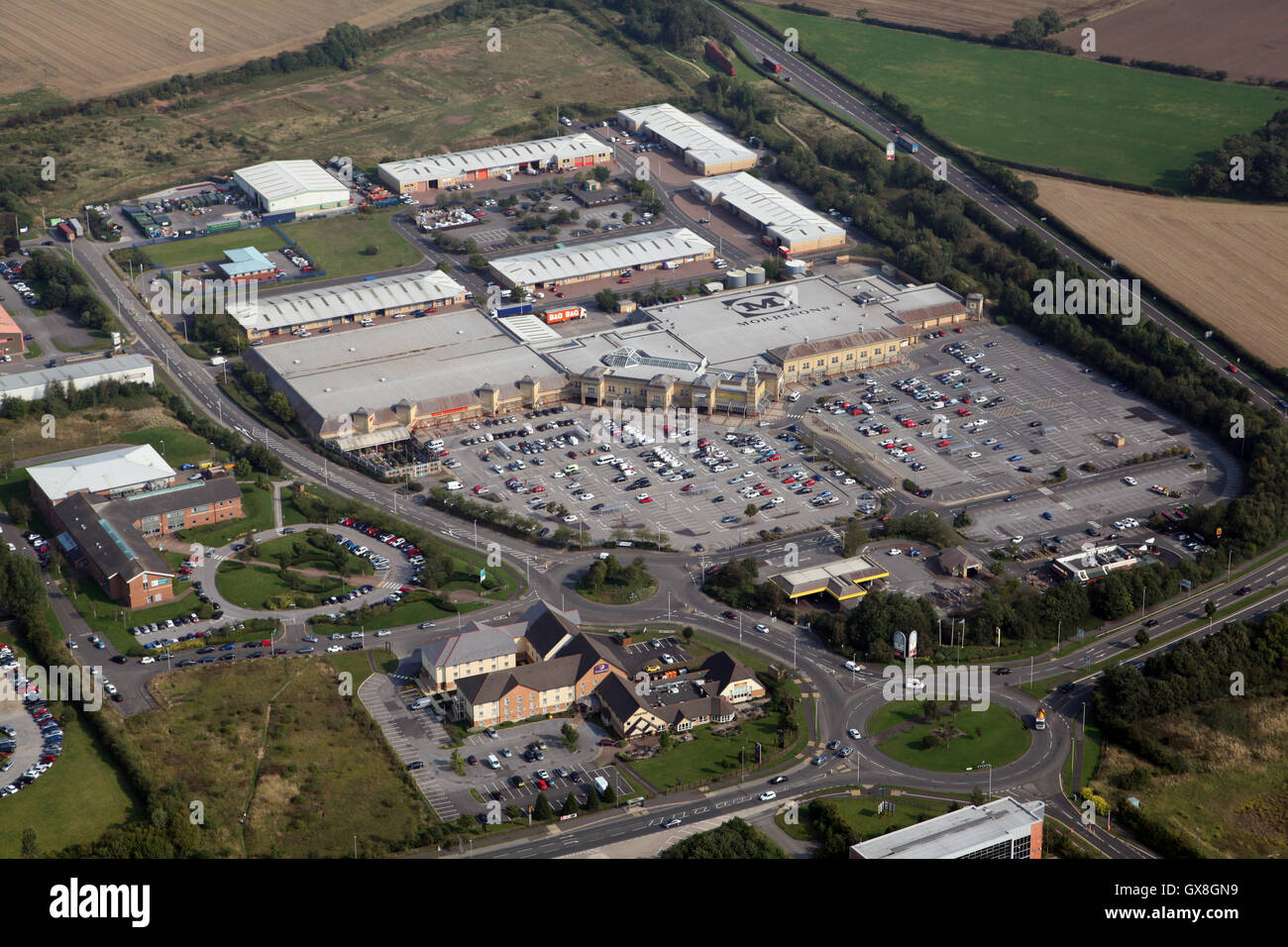 aerial view of the Morrisons superstore supermarket on the east side of Darlington, County Durham, UK - Stock Image