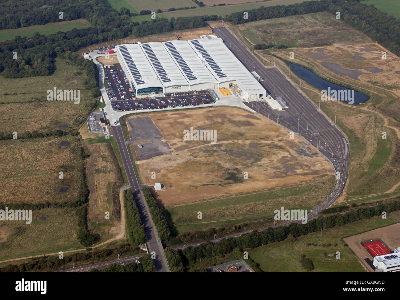 aerial view of Hitachi Rail Europe factory at Newton Aycliffe, County Durham, UK - Stock Image