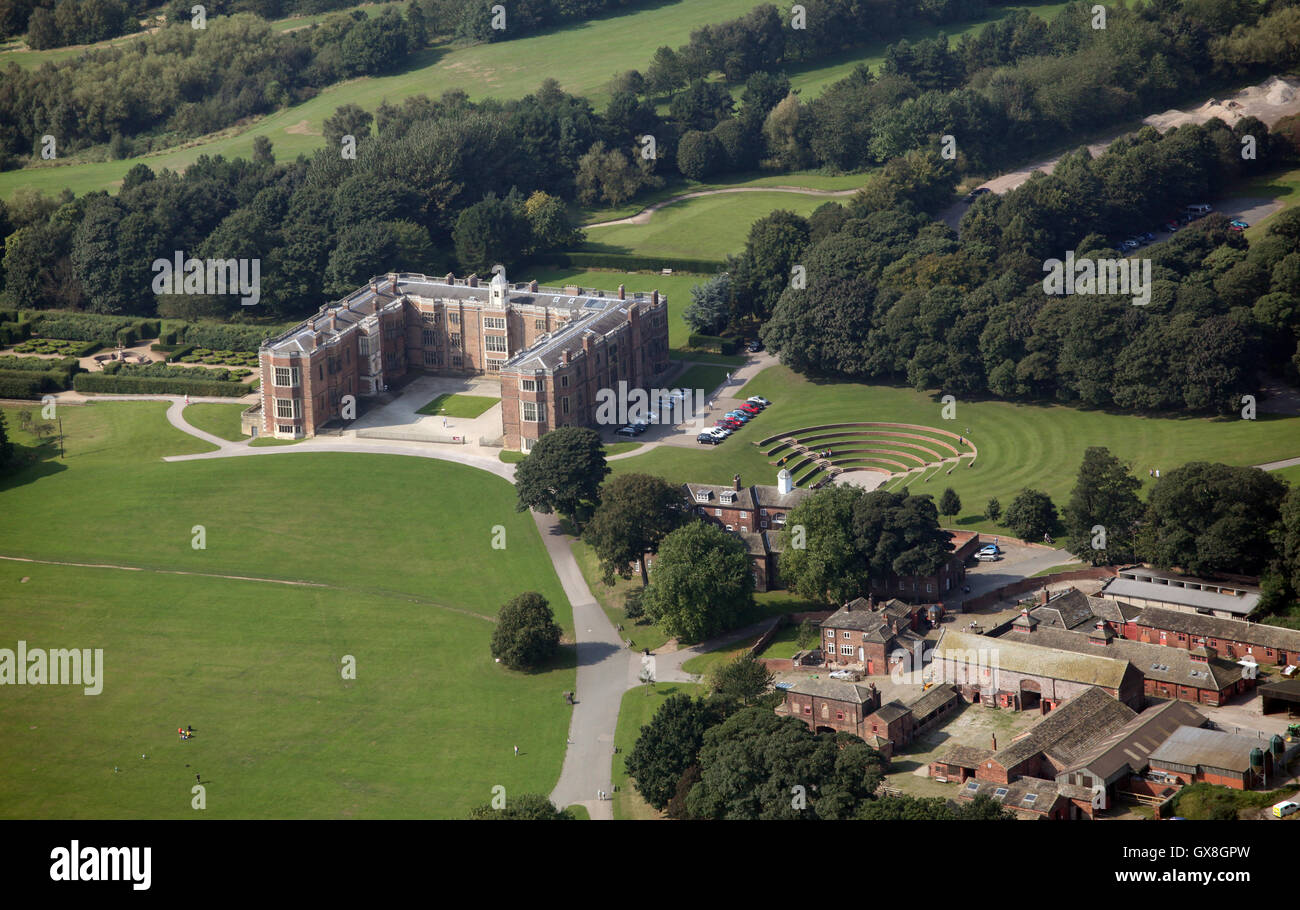 aerial view of Temple Newsam stately home near Leeds, West Yorkshire, UK - Stock Image