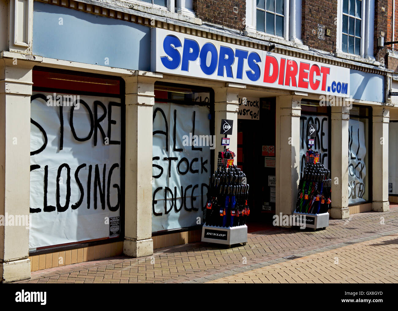 Closing down sale at a branch of Sports Direct, Kings Lynn, Norfolk, England UK - Stock Image