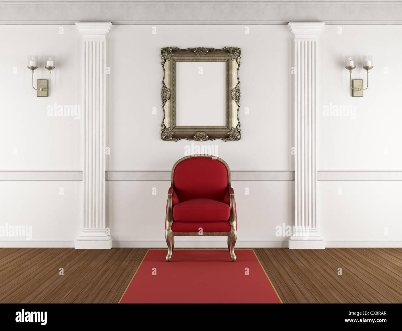 White classic living room with red armchair, pilaster and blank ...