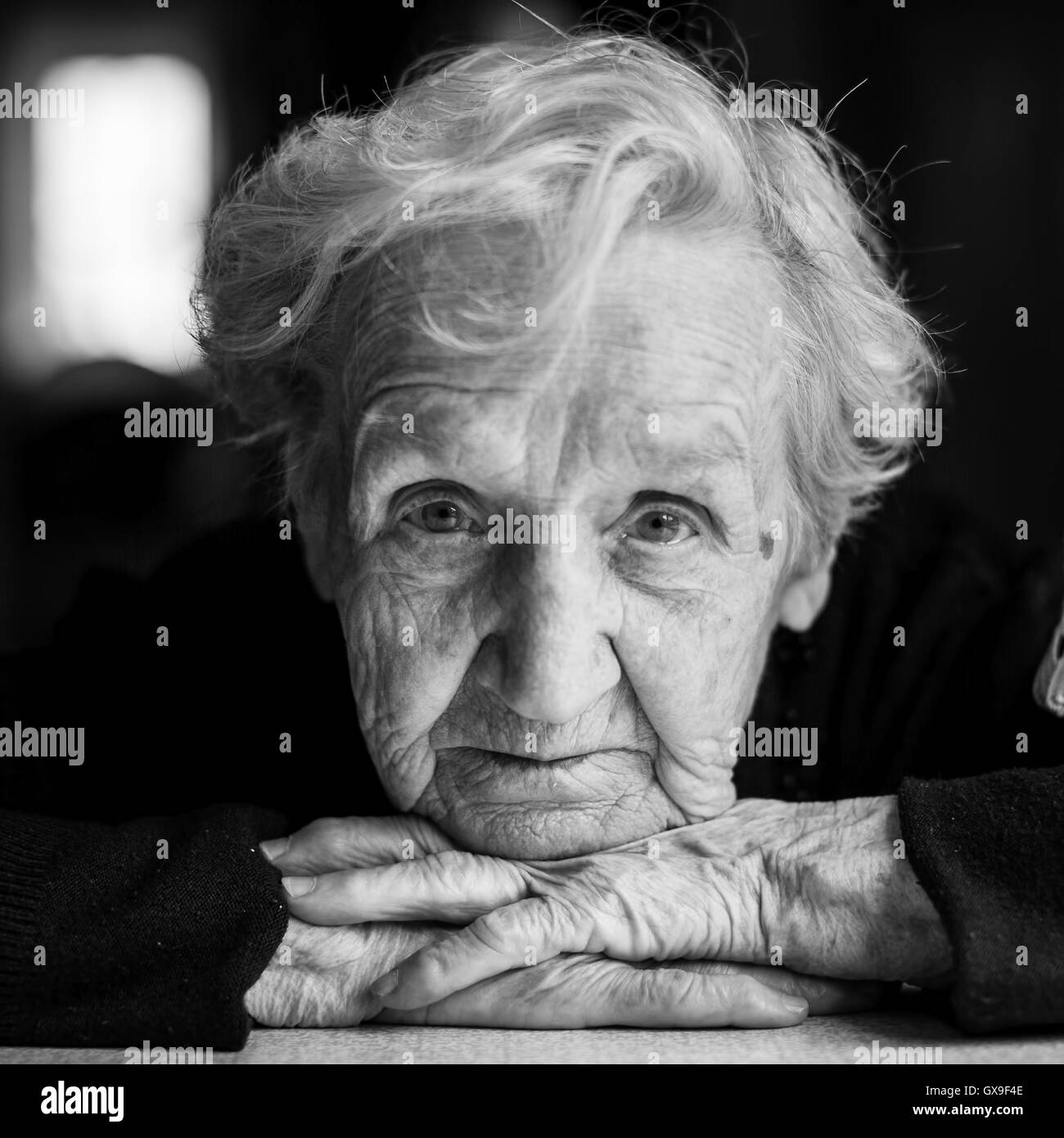 Elderly woman black and white portrait closeup