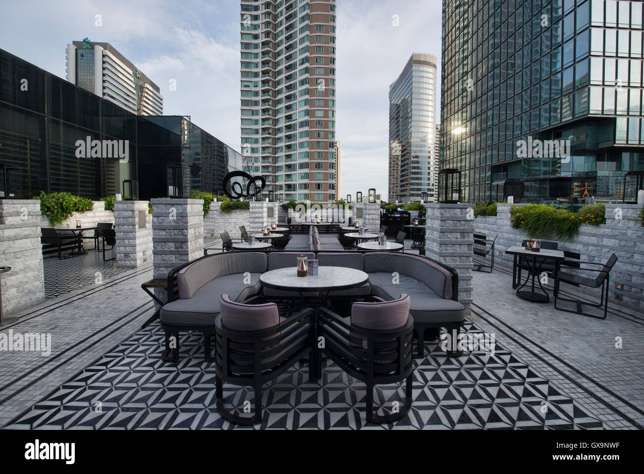 Rooftop bar at the Vogue Lounge, Bangkok, Thailand - Stock Image