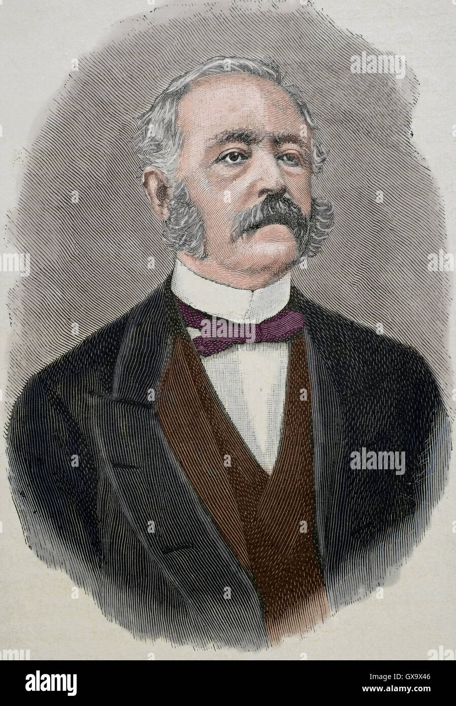 Marco Minghetti (1818-1886). Italian economist and statesman. Portrait. Engraving by Historia Universal, 1885. Colored. - Stock Image