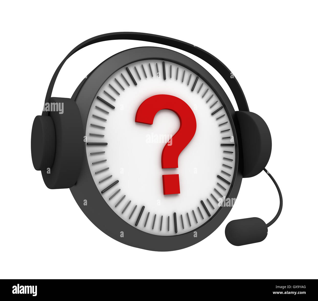 customer service question clock 3d illustration - Stock Image