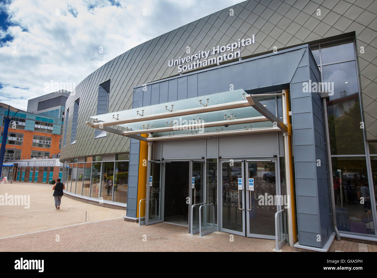 Southampton General Hospital (also know as University Hospital Southampton) photo of the new main entrance opened - Stock Image