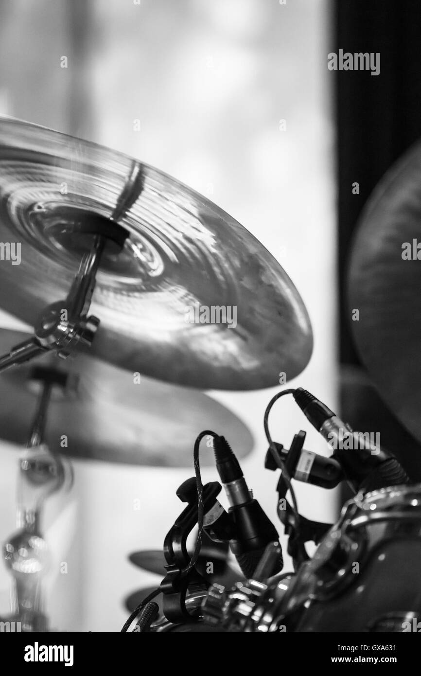 Cymbals As A Part Of Drum Set Black And White Photo With Soft Stock