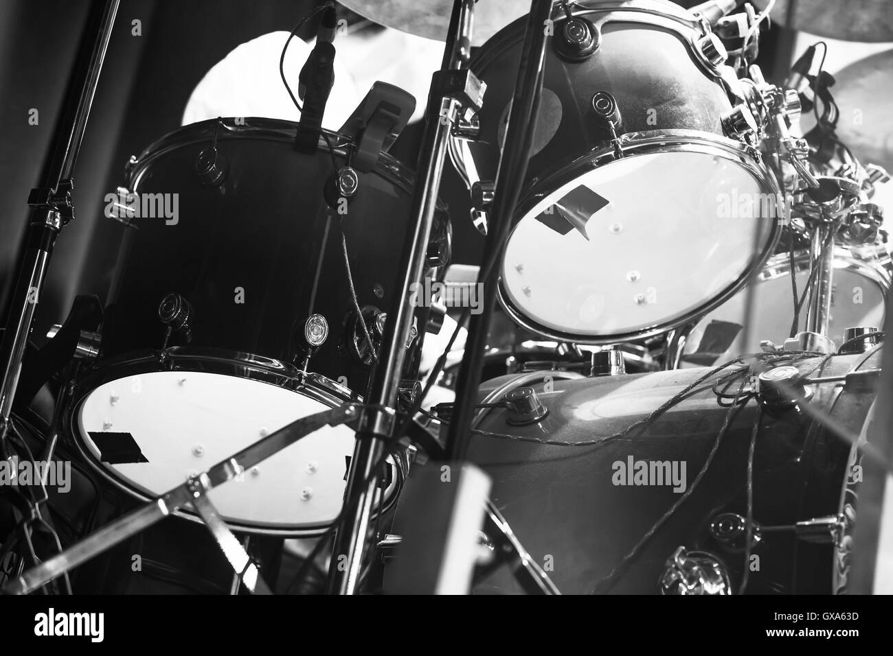 Black And White Photo Of Drum Set Rock Music Background Stock Photo