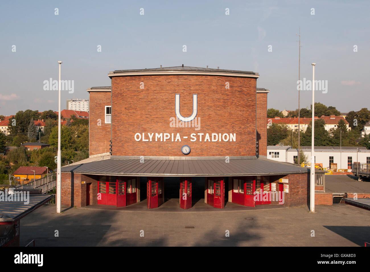 Subway station Olympiastadion Berlin Germany - Stock Image
