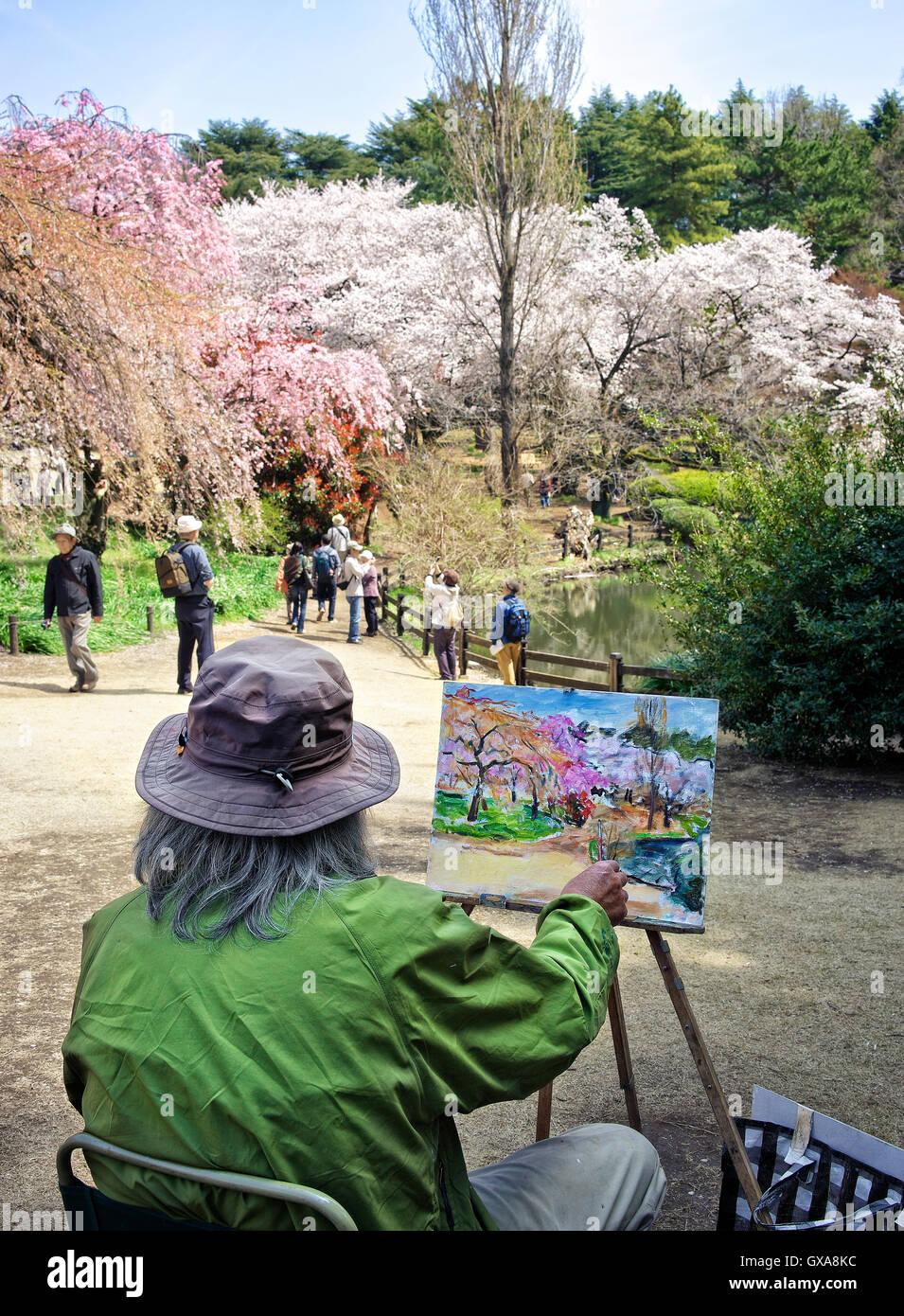 Japan, Honshu island, Kanto, Tokyo, Springtime or Hanami, painting at cherry flowers. - Stock Image