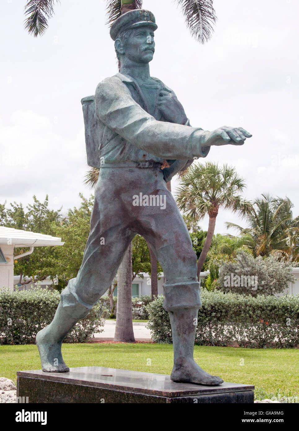 Barefoot Mailman Statue in Hillsboro Beach Florida - Stock Image