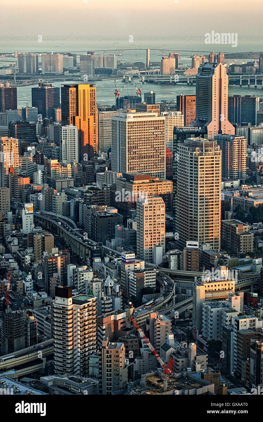 Japan, Honshu island, Kanto, Tokyo, sunset overview. - Stock Image