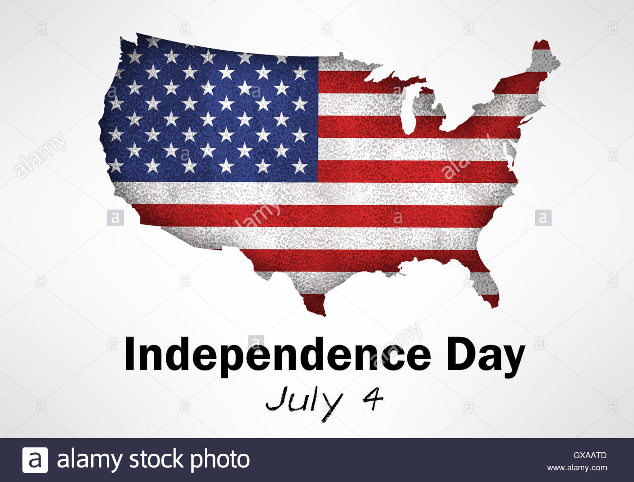 Independence Day - American federal holiday map flag illustration - Stock Image