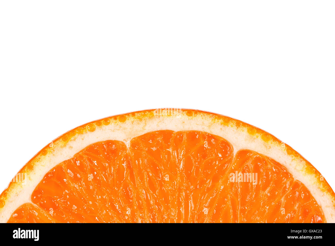 Slice of juicy tropical fruit grapefruit on a white background - Stock Image
