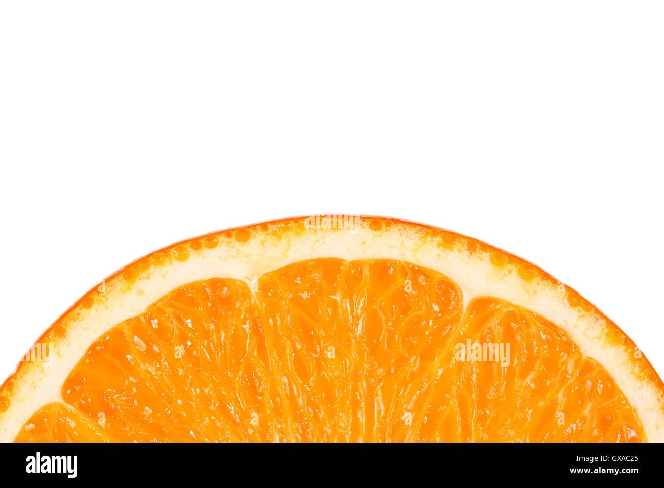 Slice of juicy tropical fruit orange on a white background - Stock Image