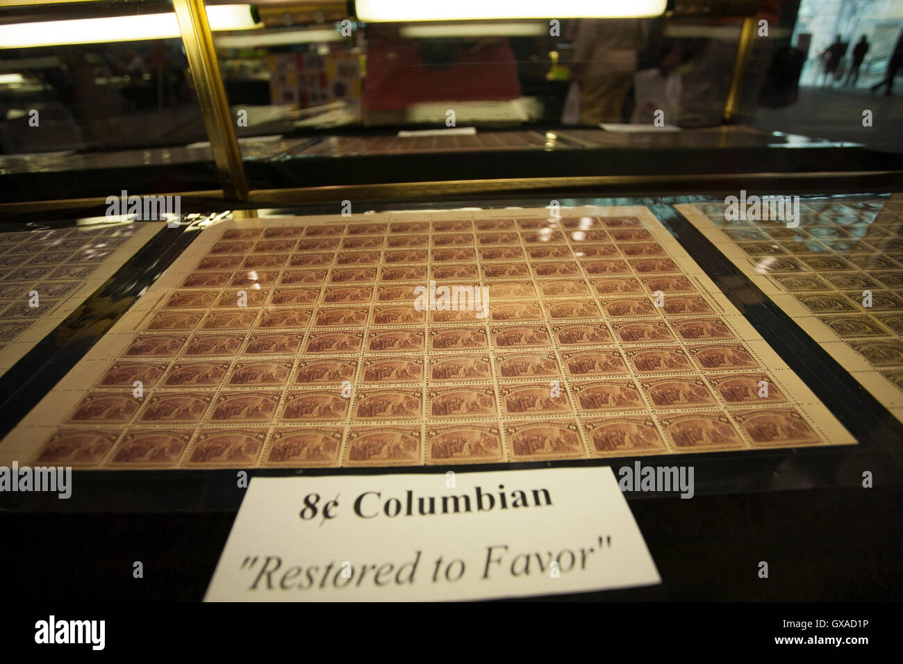 World Stamp Show-NY 2016 display of a rare Columbian sheet of stamps. - Stock Image