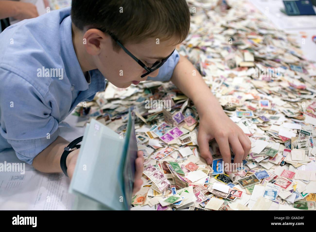 World Stamp Show-NY 2016 youth section for young stamp collectors in the NYC Javits Convention Center. Stock Photo