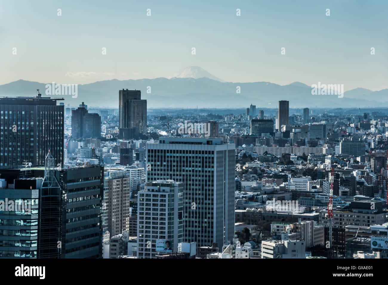 Mt. Fuji, view from Minato-Ku,Tokyo,Japan Stock Photo