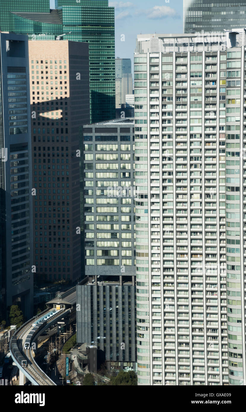Shiodome direction, view from Minato-Ku,Tokyo,Japan Stock Photo