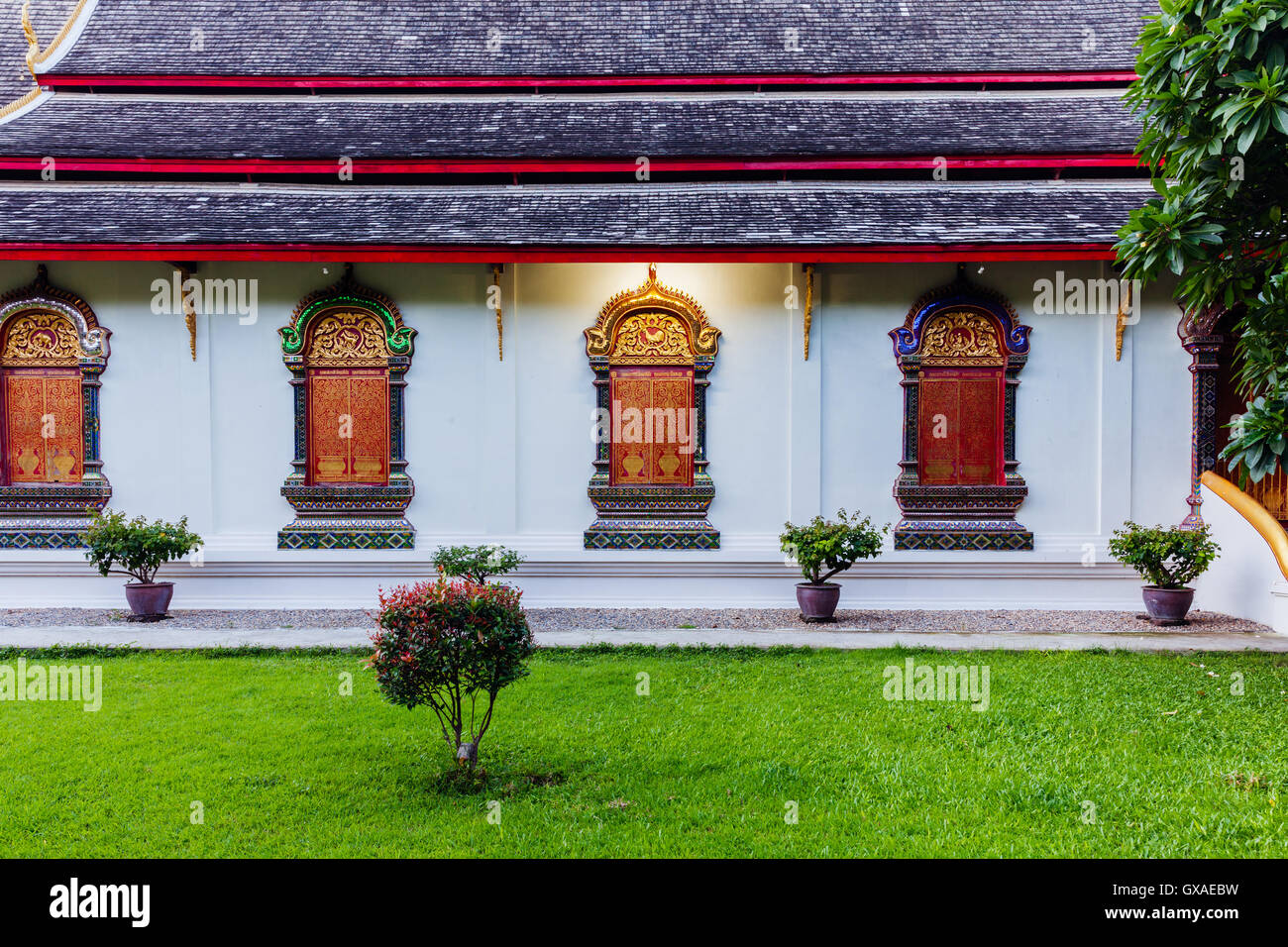Rchitectural details of Wat Chiang Man, the oldest temple in Chiang Mai, Thailand. - Stock Image
