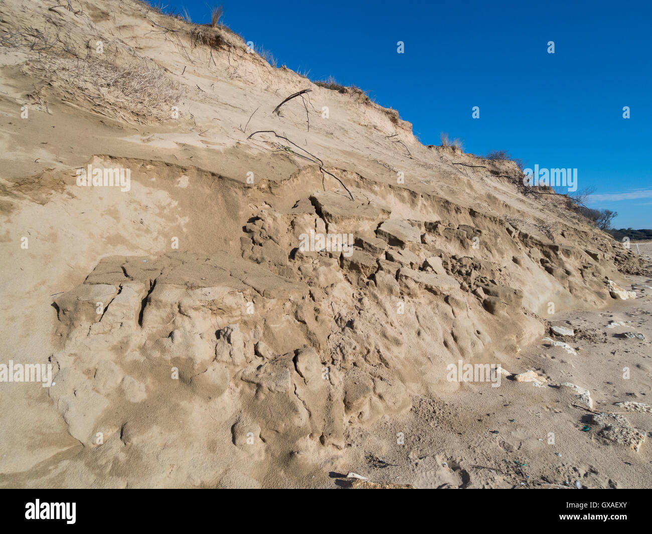 Collapse of the sand dune. - Stock Image