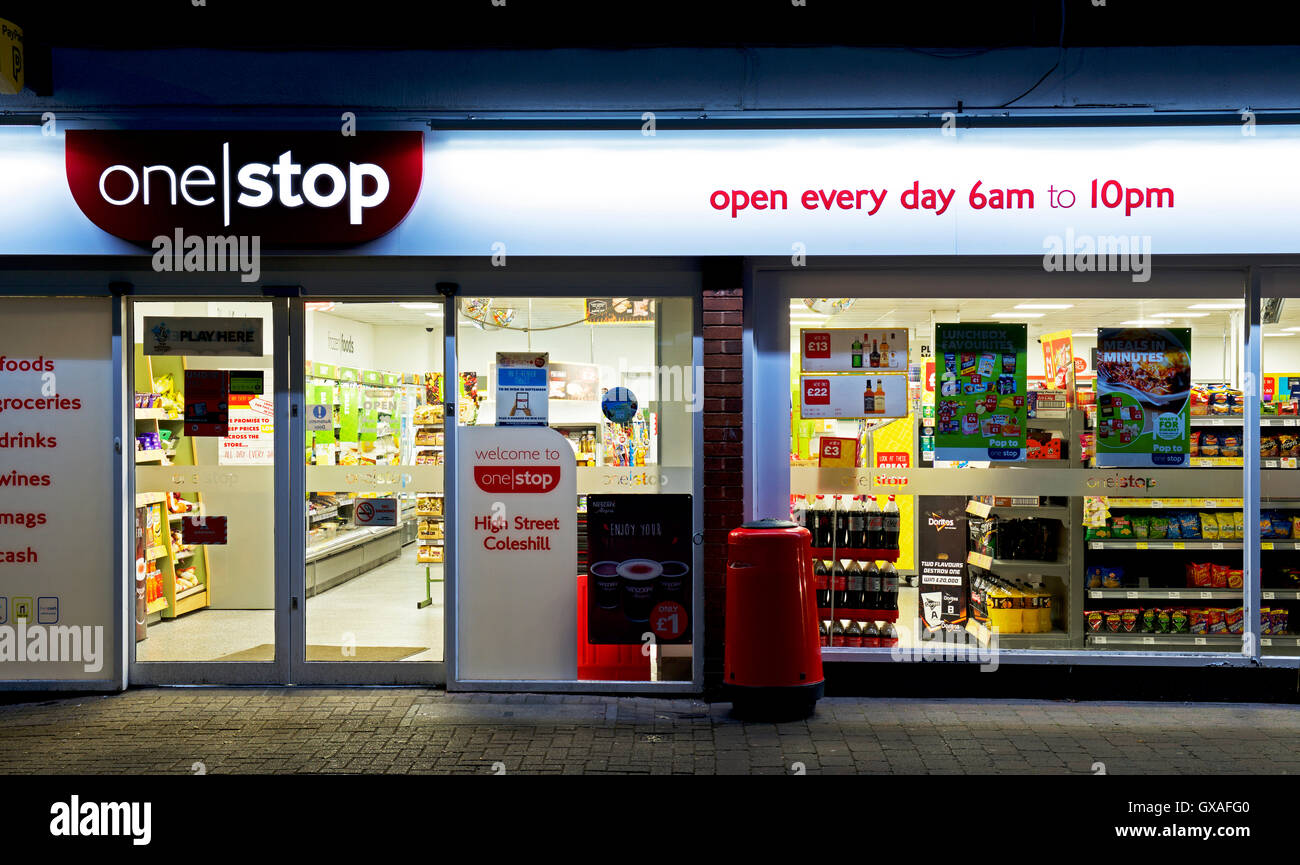 One Stop grocery shop at night, England UK - Stock Image