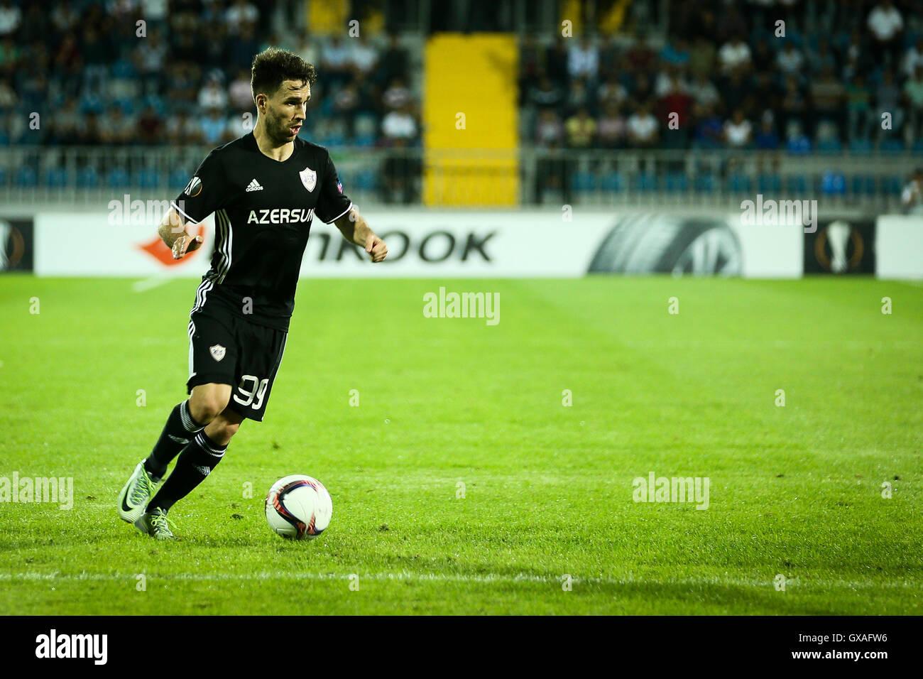 Baku, Azerbaijan. 15th Sep, 2016. Qarabag FK's player Dani Quintana controls the ball during the UEFA Europe League Stock Photo