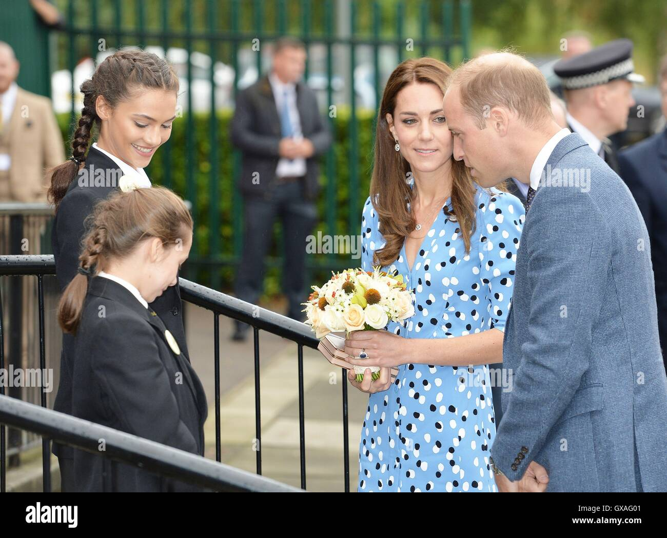 The Duke and Duchess of Cambridge arriving at Stewards Academy in Harlow, Essex, where the couple, who are promoting - Stock Image