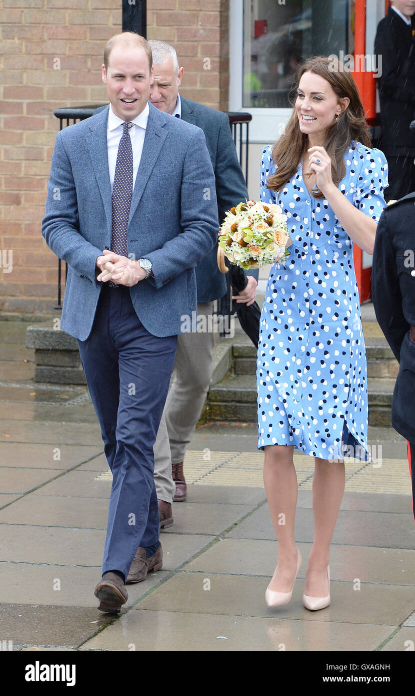 The Duke and Duchess of Cambridge leaving Stewards Academy in Harlow, Essex, where the couple, who are promoting - Stock Image