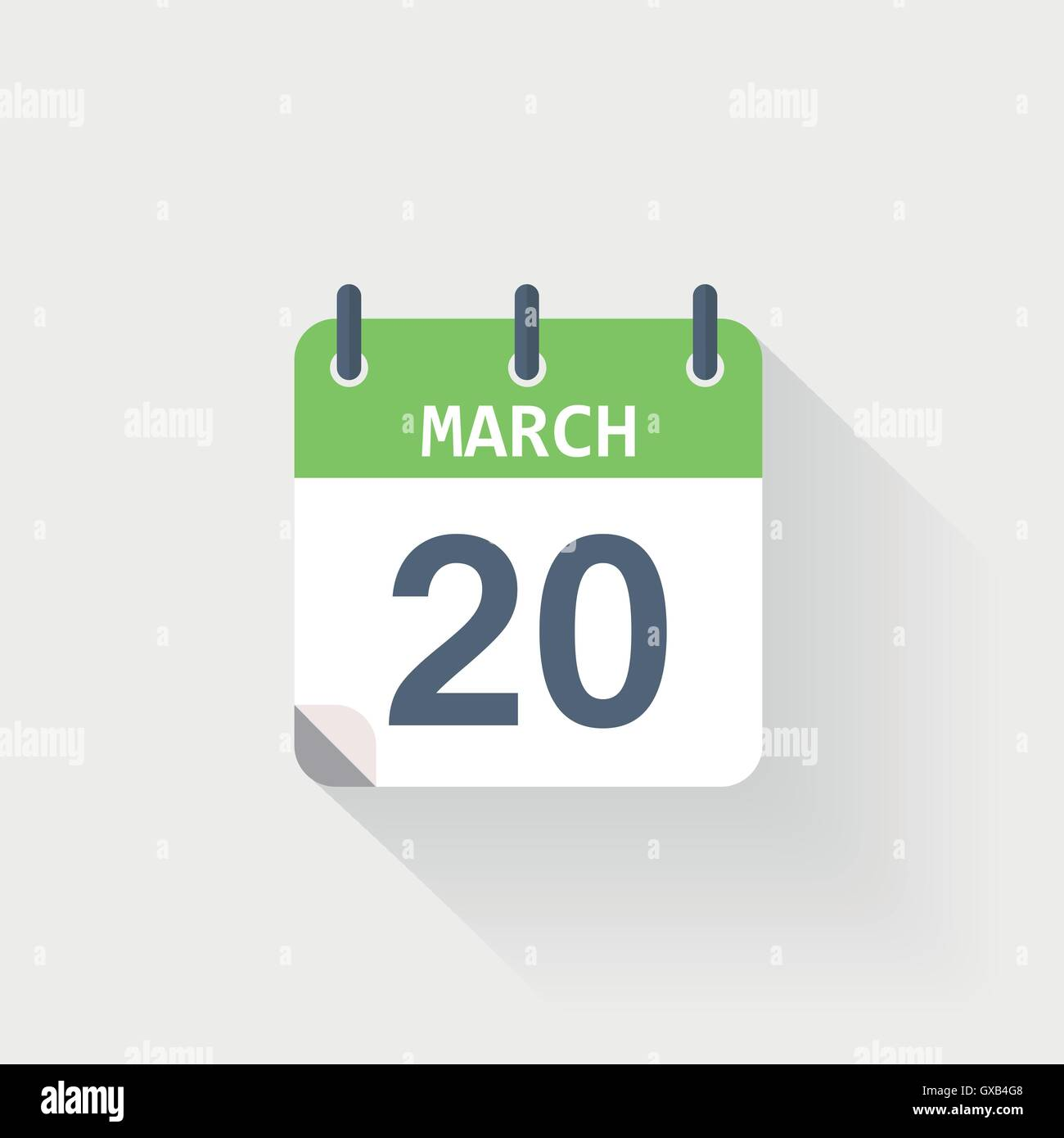 20 march calendar icon on grey background - Stock Vector