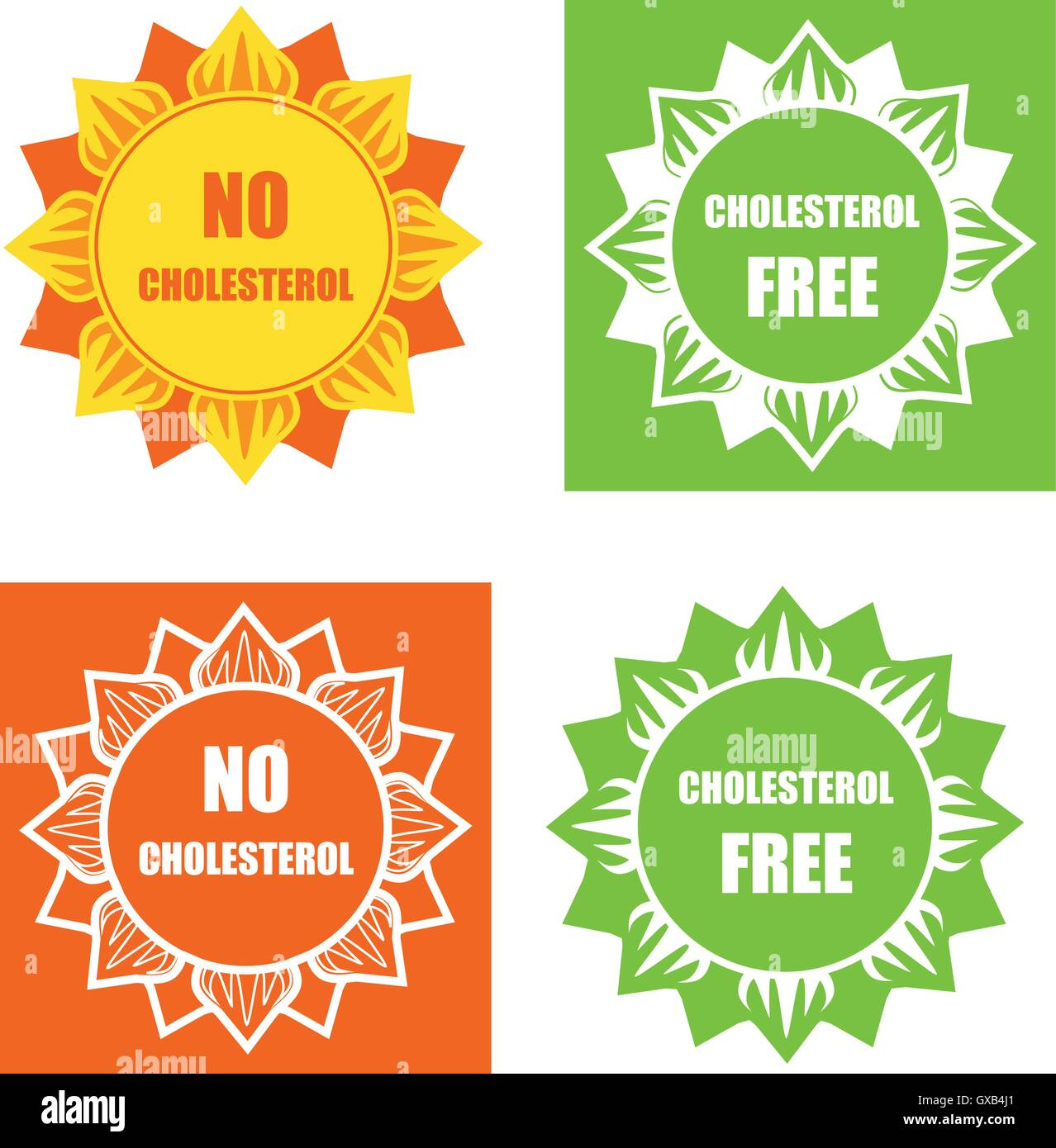 Four cholesterol free labels Stock Vector