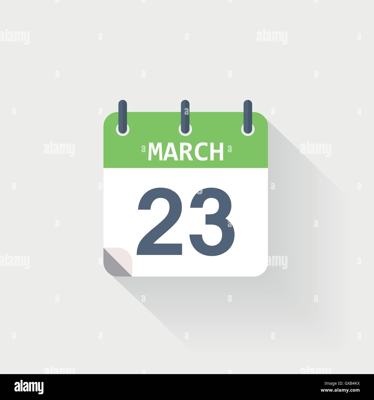 23 march calendar icon on grey background - Stock Vector