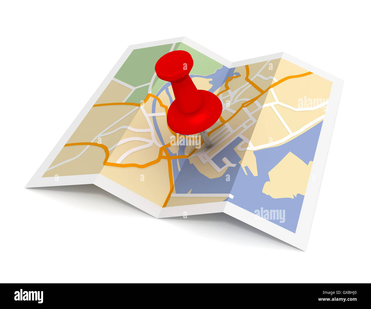 pushpin on map 3d illustration - Stock Image