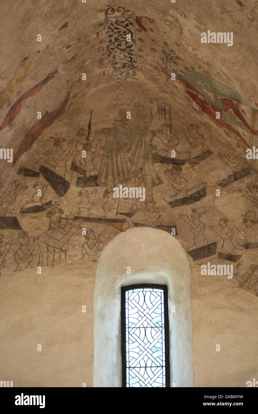 Medieval fresco of 'The Resurrection' and window in the Fisherman's Chapel, St Brelade, Jersey, the Channel Islands. Stock Photo