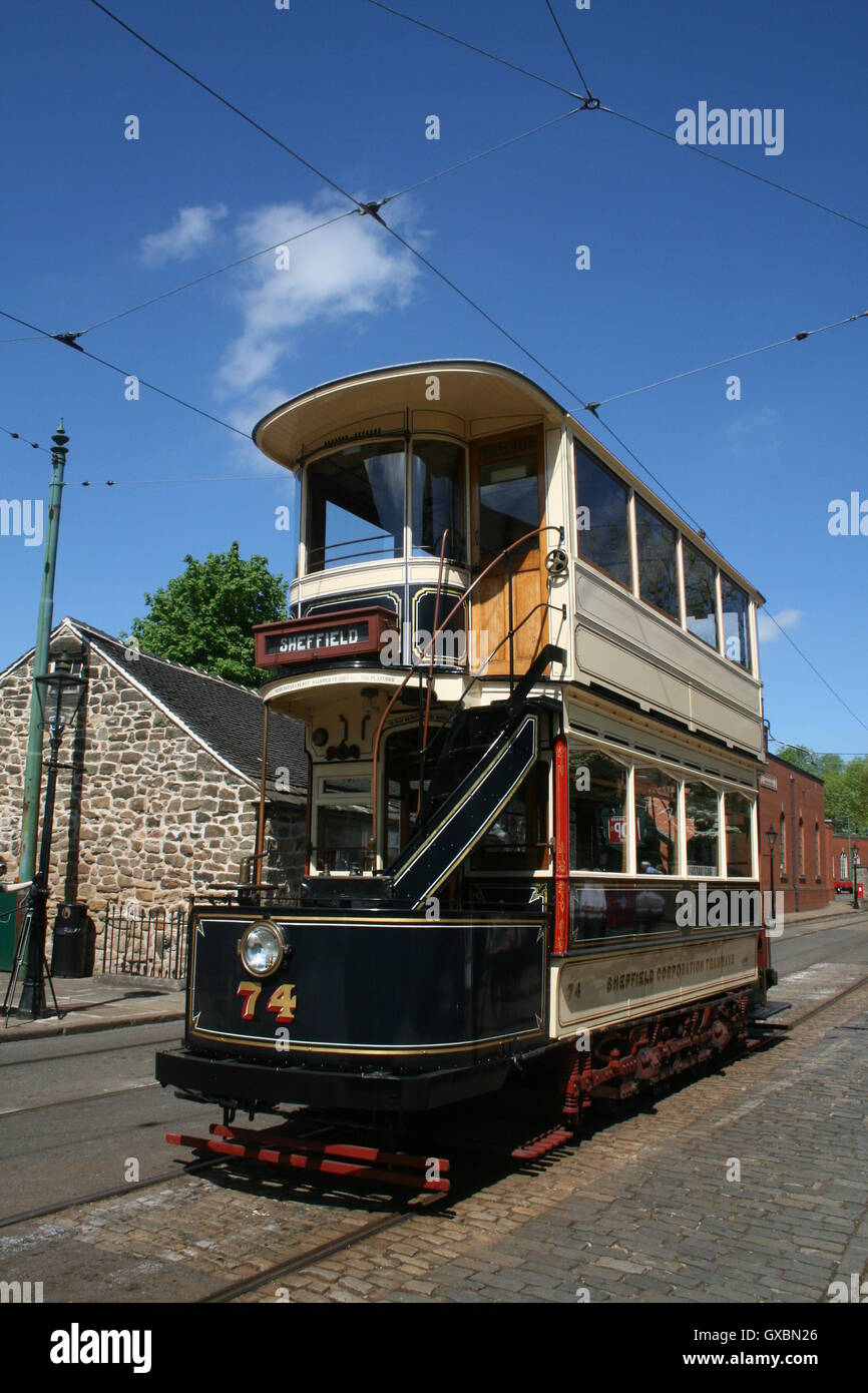 Tram 74, formerly belonging to Sheffield Corporation Tramways, now at Crich Tramway Village Stock Photo