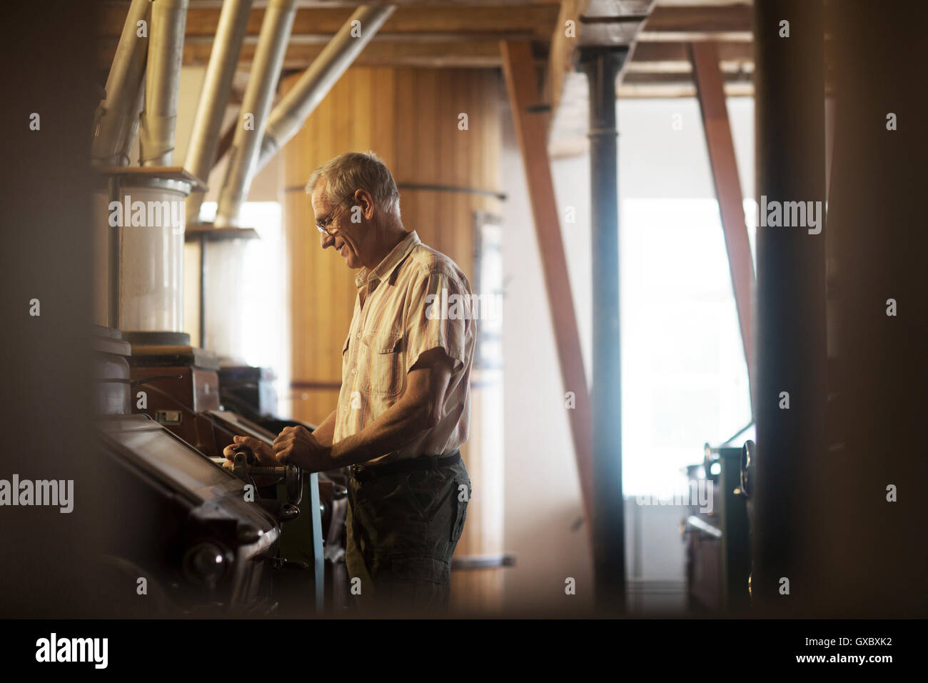 Male miller operating machine at wheat mill - Stock Image